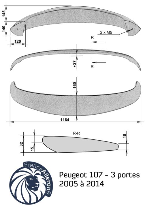 Aileron pour Peugeot 107 3 portes